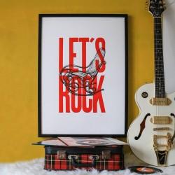 Affiche Let's Rock rouge...